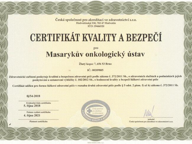 Certifikát - akreditace 2018